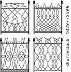 wrought iron gate  ornamental... | Shutterstock .eps vector #1029773596