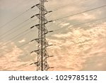hight voltage electric towers... | Shutterstock . vector #1029785152