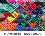 colorful pen on the shelf | Shutterstock . vector #1029788602