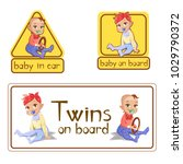 baby in car sign stickers...   Shutterstock .eps vector #1029790372