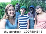 group of multi ethnic teenagers ...   Shutterstock . vector #1029804946