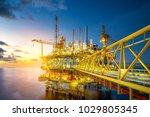 a huge yellow of offshore oil... | Shutterstock . vector #1029805345