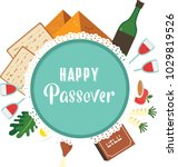 passover seder plate with flat... | Shutterstock .eps vector #1029819526
