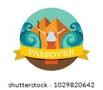 moses splitting the red sea and ... | Shutterstock .eps vector #1029820642