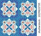 blue ornamental tiles background   Shutterstock .eps vector #1029823735