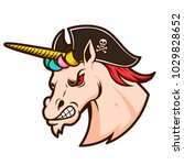 angry unicorn head in pirate... | Shutterstock .eps vector #1029828652