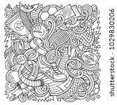 cartoon vector doodles football ... | Shutterstock .eps vector #1029830206