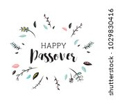 happy passover card with floral ... | Shutterstock .eps vector #1029830416