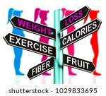 weight loss signpost shows... | Shutterstock . vector #1029833695
