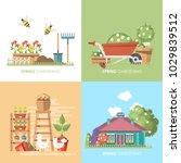 spring gardening vector flat... | Shutterstock .eps vector #1029839512