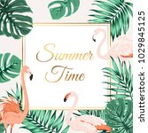 exotic tropical border frame... | Shutterstock .eps vector #1029845125