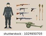 a german ww2 soldier gun... | Shutterstock .eps vector #1029850705