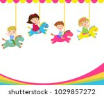 group of children playing | Shutterstock .eps vector #1029857272