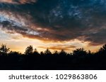 sunset landscape upon the forest | Shutterstock . vector #1029863806