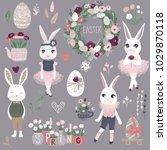 vector set of cute happy easter ...   Shutterstock .eps vector #1029870118