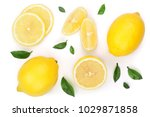 lemon and slices with leaf... | Shutterstock . vector #1029871858