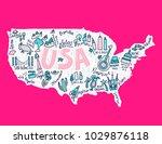travel to usa cartoon map.... | Shutterstock .eps vector #1029876118