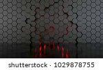 abstract hexagonal wall  3d... | Shutterstock . vector #1029878755
