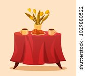 a nice table with a colored... | Shutterstock .eps vector #1029880522