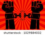 hands with clenched fists... | Shutterstock .eps vector #1029884032