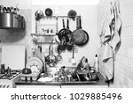 untidy domestic kitchen  black... | Shutterstock . vector #1029885496