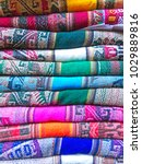 Small photo of Andean blankets in a street market, La Paz, Bolivia
