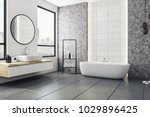 Modern Bathroom Interior With...