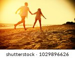 two lovers on beach and summer... | Shutterstock . vector #1029896626