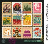 postage stamps  cities of the... | Shutterstock .eps vector #1029898162