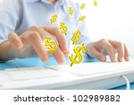 business people typing keyboard make dollars isolated on white - stock photo