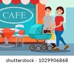 happy family walking in city... | Shutterstock .eps vector #1029906868