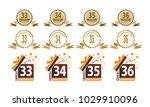 ribbon anniversary template set | Shutterstock .eps vector #1029910096
