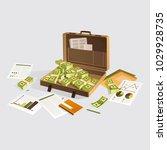 work desk with documents ... | Shutterstock .eps vector #1029928735