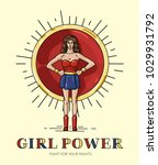poster girl power with strong... | Shutterstock .eps vector #1029931792