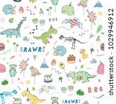 dinosaur party birthday... | Shutterstock . vector #1029946912