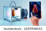 White 3d printer with filament spool. 3d printer printed vase. Maker hold tablet in hand. Mobile interface with 3d model. Tablet showing progress printing 3d model. Additive technology for hobby, diy | Shutterstock vector #1029948412