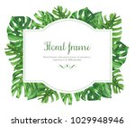floral frame with green leaves... | Shutterstock . vector #1029948946