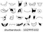 outlined cartoon mouth set | Shutterstock .eps vector #102995102