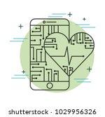 smartphone heartbeat health... | Shutterstock .eps vector #1029956326