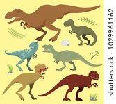 scary dinosaurs vector... | Shutterstock .eps vector #1029961162