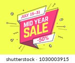 mid year sale  banner template... | Shutterstock .eps vector #1030003915