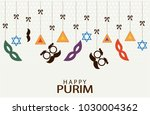 happy purim greeting card or... | Shutterstock .eps vector #1030004362