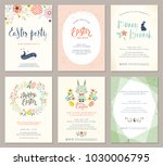 vector easter party invitations ... | Shutterstock .eps vector #1030006795