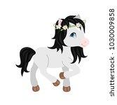 adorable cartoon horse... | Shutterstock .eps vector #1030009858