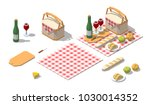 isometric low poly picnic food... | Shutterstock .eps vector #1030014352