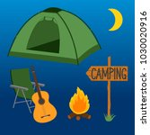 camp at night. set of objects....   Shutterstock .eps vector #1030020916