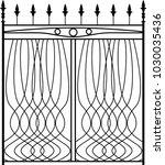 wrought iron gate  ornamental... | Shutterstock .eps vector #1030035436