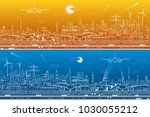 airport panorama set.... | Shutterstock .eps vector #1030055212