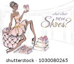 fashion girl with beauty high... | Shutterstock .eps vector #1030080265