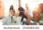 employees applauded the manager | Shutterstock . vector #1030085182
